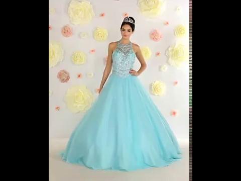 f8f8dd1453441 Shop MarlasFashion.com for High Neck Long Aqua Blue Ball Gown - YouTube
