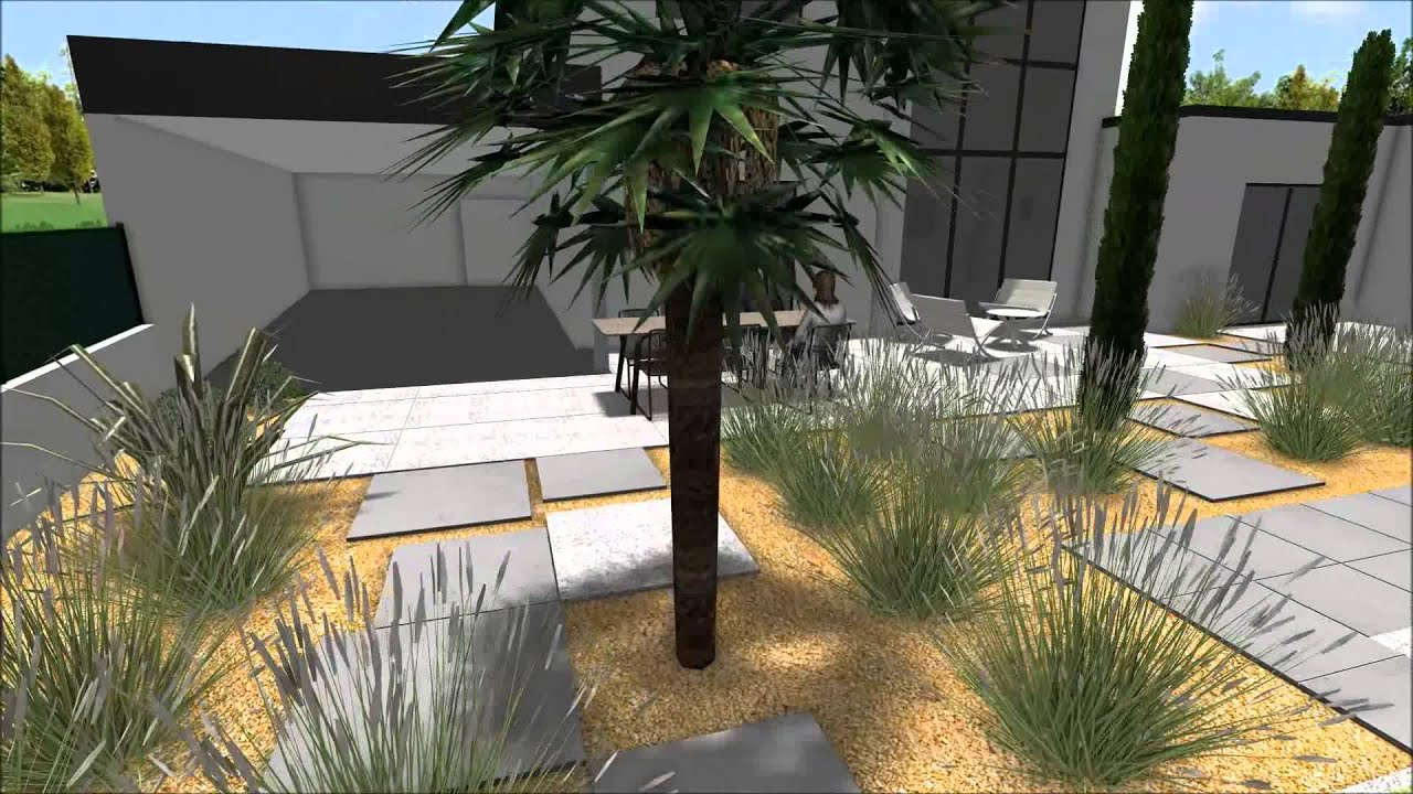 Projet de jardin contemporain en vend e youtube for Aspersores para riego de jardin