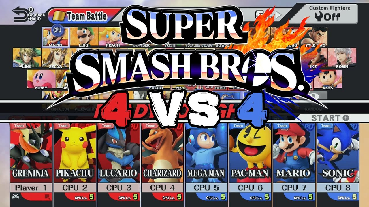 "Mewkwota Super Smash Bros 4: 8 Player Smash ""4 Vs 4 Team Battle"