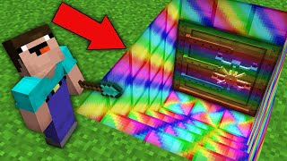 Minecraft NOOB vs PRO: HOW NOOB OPEN THIS STRANGE RAINBOW BUNKER? Challenge 100% trolling