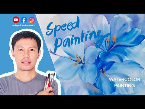How to paint watercolor / วิธีวาดสีน้ำภาพดอกไม้ #สีน้ำ#สีน้ำยูทูบเบอร์