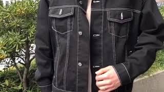 스티치 트러커 면 자켓-블랙