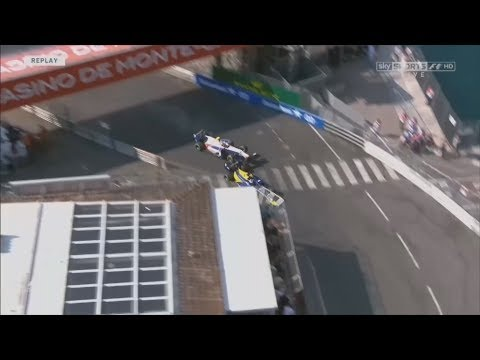 FIA Formula 2 Championship 2017. Race 2 Circuit de Monaco. Sergio Canamasas & Oliver Rowland Crash