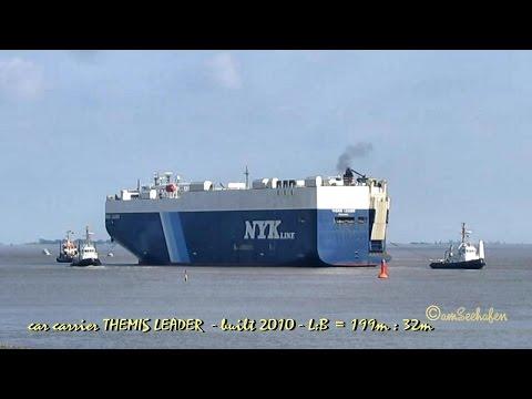 car carrier THEMIS LEADER 3FCI5 IMO 9553115 Emden Autotransporter 3 Tugs Schlepper pilot Lotse