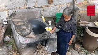 【盧保貴視覺影像】太行山区八十多岁的老人在院子里做早餐,你觉得会好吃吗?
