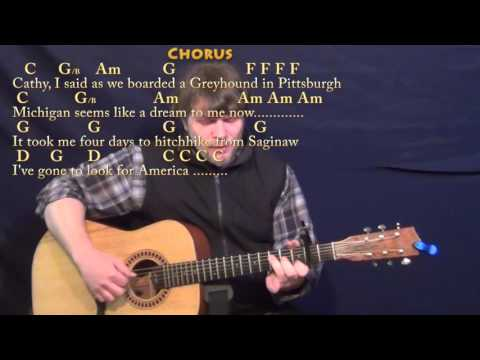 America (Simon & Garfunkel) Fingerstyle Guitar Cover Lesson with Chords/Lyrics - Capo 2nd