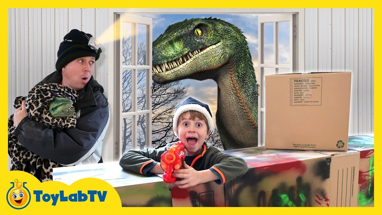 Dinosaur Chase with Park Rangers in Giant Box Fort Cardboard House