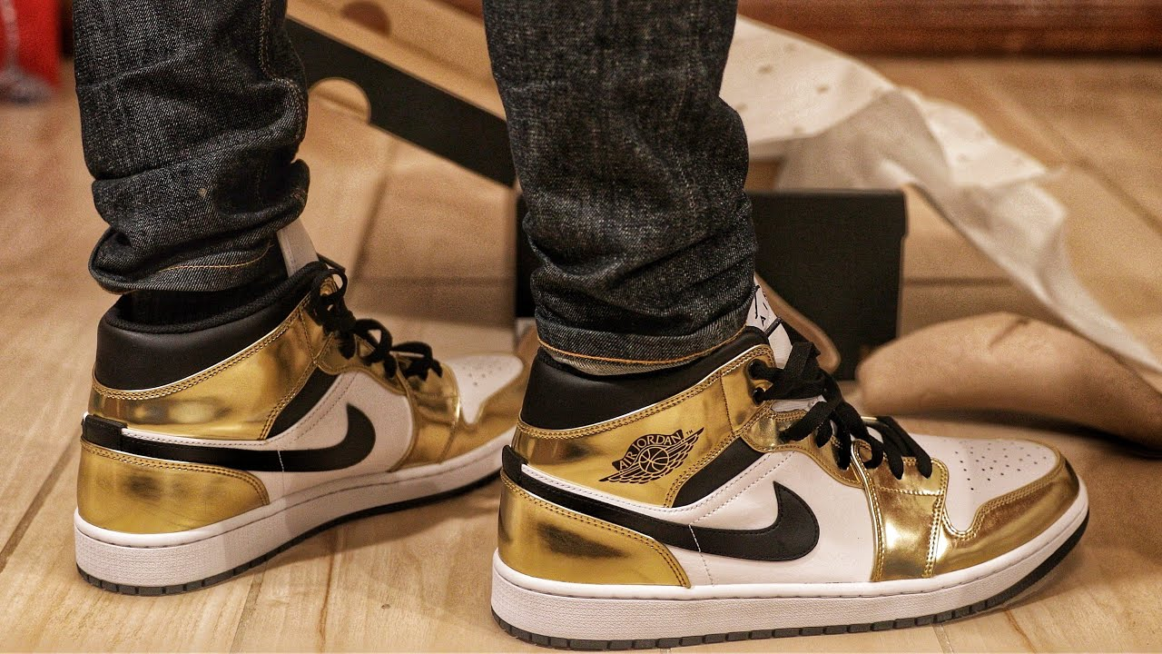 Nike Air Jordan 1 Mid Metallic Gold Black White Unboxing and On-Foot Review