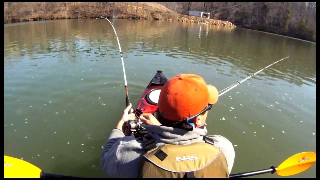 Kayak fishing 3 striped bass youtube for Kayak bass fishing