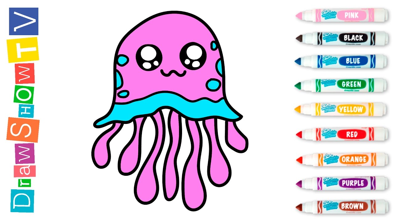 simple example how to draw funny jellyfish painting for kids