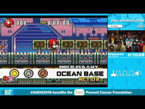Sonic Advance 3 by Kirbymastah in 43:58 - Awesome Games Done Quick 2016 - Part 69