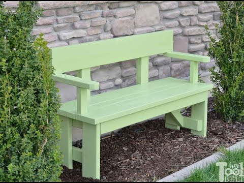 DIY Outdoor Wood Bench with Back and Arm Rests