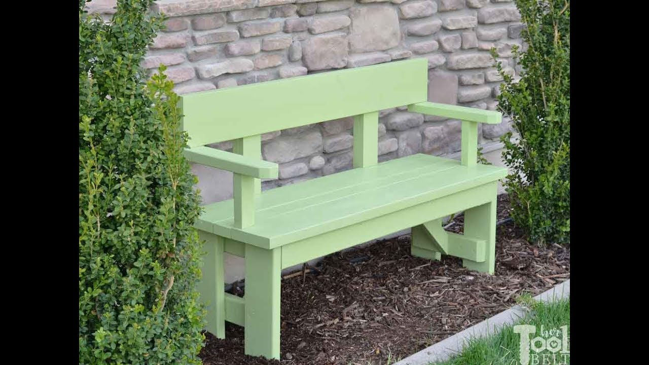 Red Oak Kitchen Table, Diy Outdoor Wood Bench With Back And Arm Rests Youtube