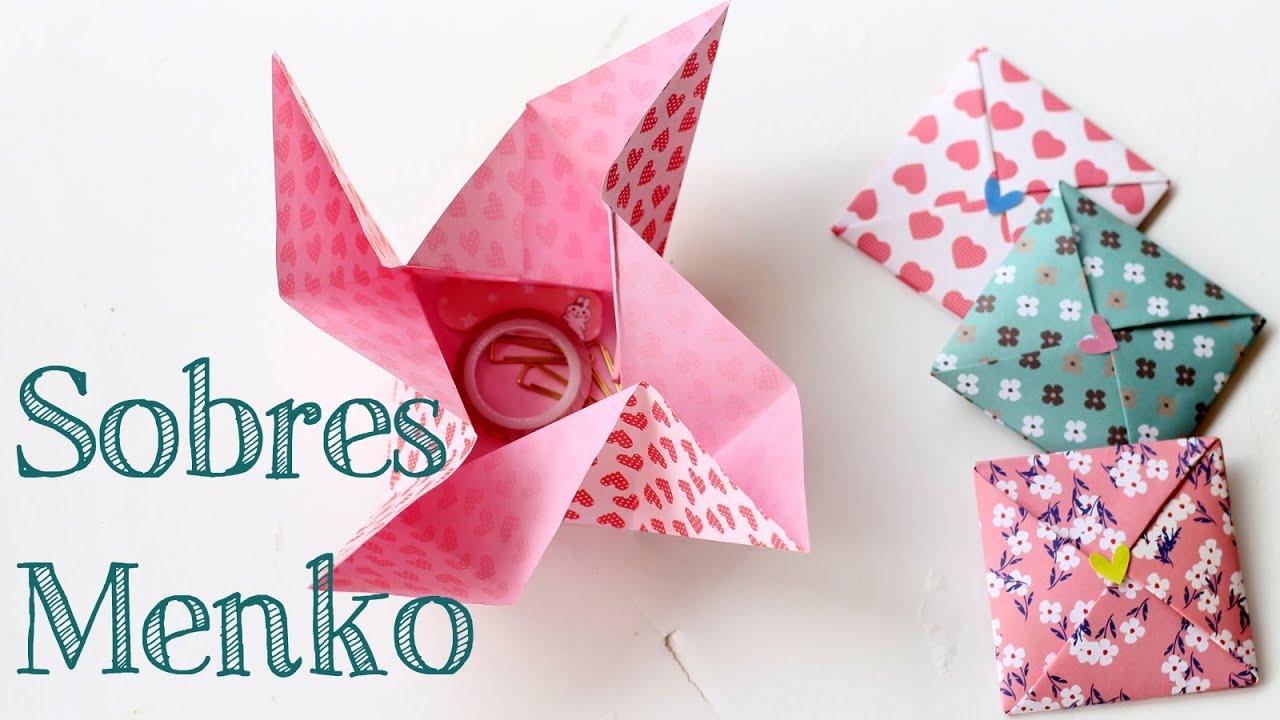 Aprende a hacer un bonito sobre de papel menko origami for Como hacer un sobre rectangular