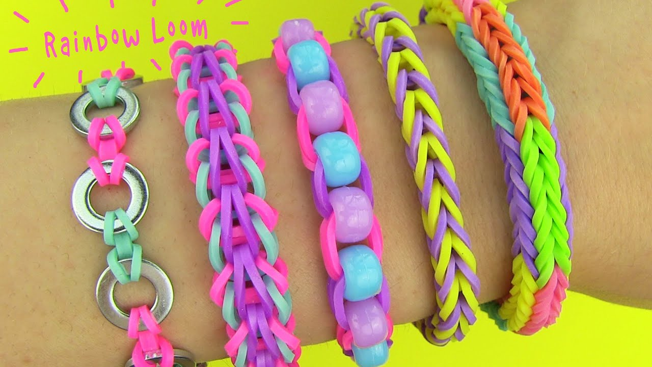 Diy 5 Easy Rainbow Loom Bracelets Without A Loom (diy Loom Bands)  Youtube