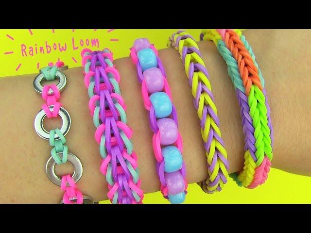 Rainbow Loom! DIY 5 Easy Rainbow Loom Bracelets without a Loom (DIY Loom Bands)