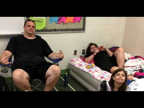 """Cannibal Corpse's George """"Corpsegrinder"""" Fisher in an Elementary School Shelter for Hurricane Irma."""