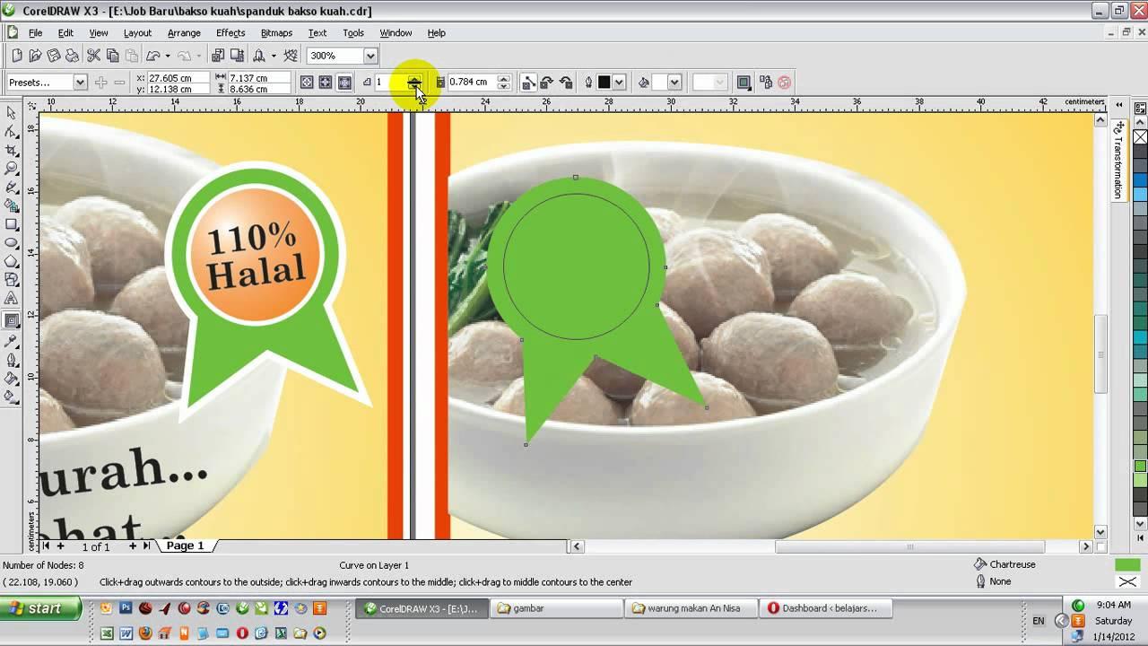 Video belajar desain spanduk bakso kuah dengan corelDRAW ...