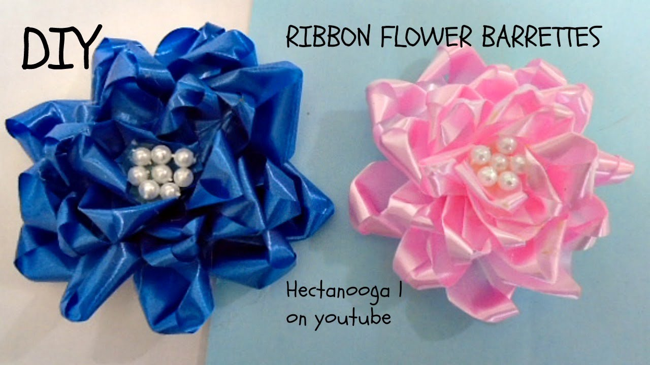 RIBBON FLOWER, How to make ribbon flower barrettes, special occasion ...