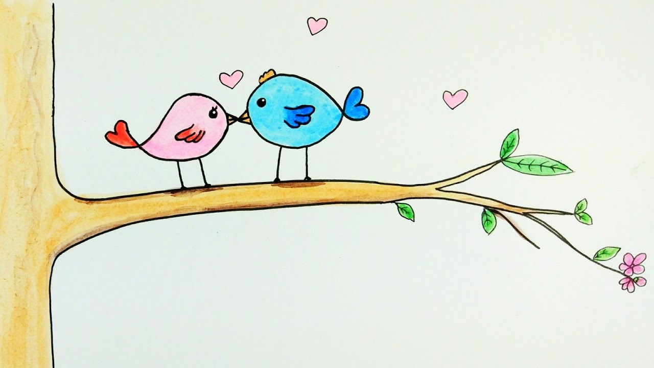 How To Draw Lovebirds Cute Lovebirds Drawing Tutorial Easy For