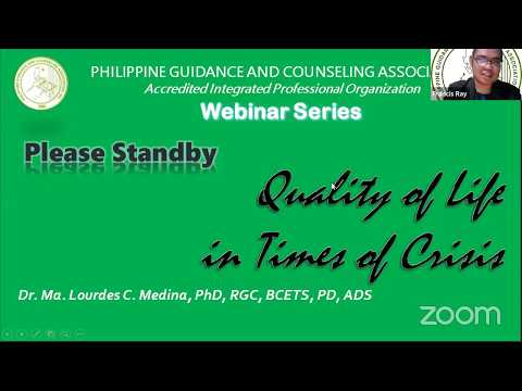 Quality of Life in Times of Crisis (PGCA Webinar Series)