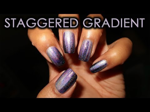 Purple Holo Staggered Gradient | DIY Nail Art Tutorial thumbnail