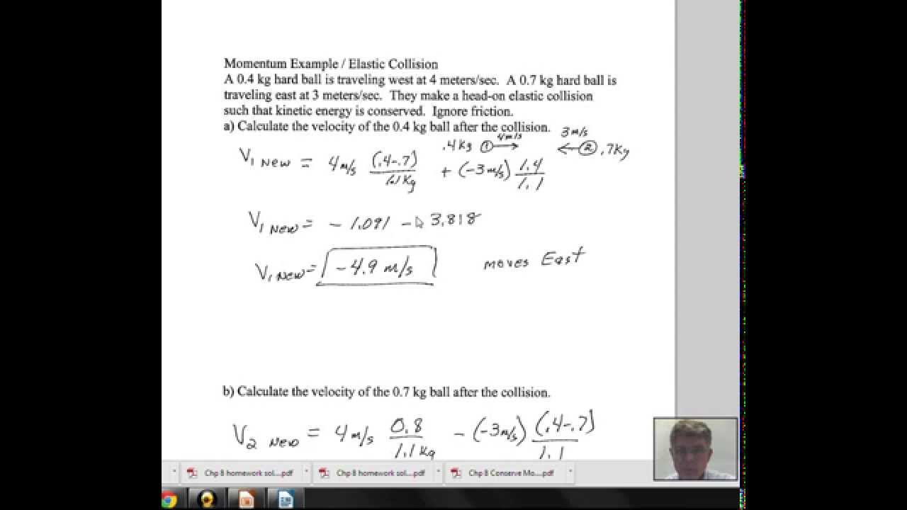Elastic Collision Calculate The Two Final Velocities Youtube