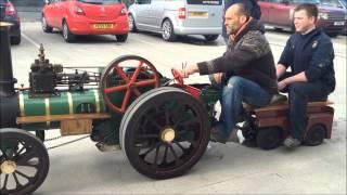 4 inch Garrett Traction Engine on test outside The Steam Workshop