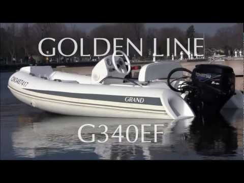 GRAND inflatable RIB boat Golden Line G340EF with 20HP, test drive.