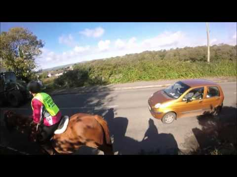 The dangers faced by horse riders on UK roads - headcam clips