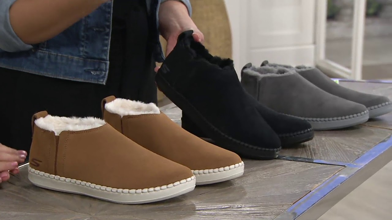 0abe2c9d20d9 Skechers Go Vulc 2 Suede Faux Fur Booties -Savvy on QVC - YouTube