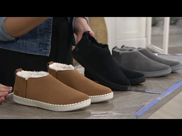 Skechers Go Vulc 2 Suede Faux Fur Booties -Savvy on QVC