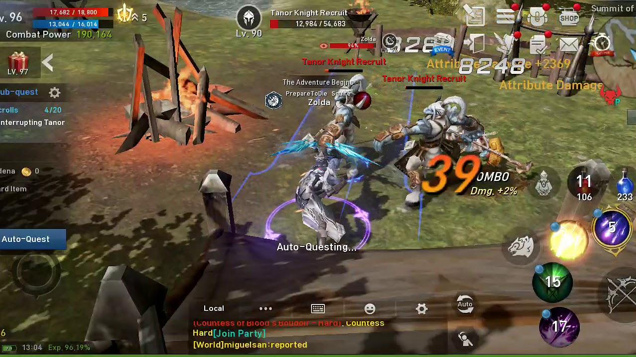 Lineage2 revolution Gameplay Auto quest feature level 95 Phantom Ranger