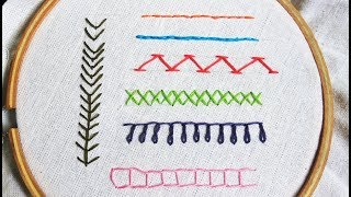 Hand embroidery stitches for beginners: 7 Basic Embroidery Stitches | Embroidery tutorial Part 2