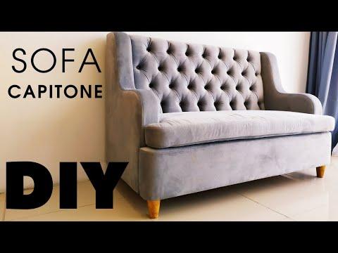 МИНИ-ДИВАН с КАРЕТНОЙ стяжкой-капитоне мебель СВОИМИ РУКАМИ DIY Sofa Capitone