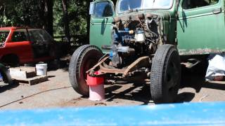 1946 Chevy 2 Ton Dump Truck Engine Test Fire 235
