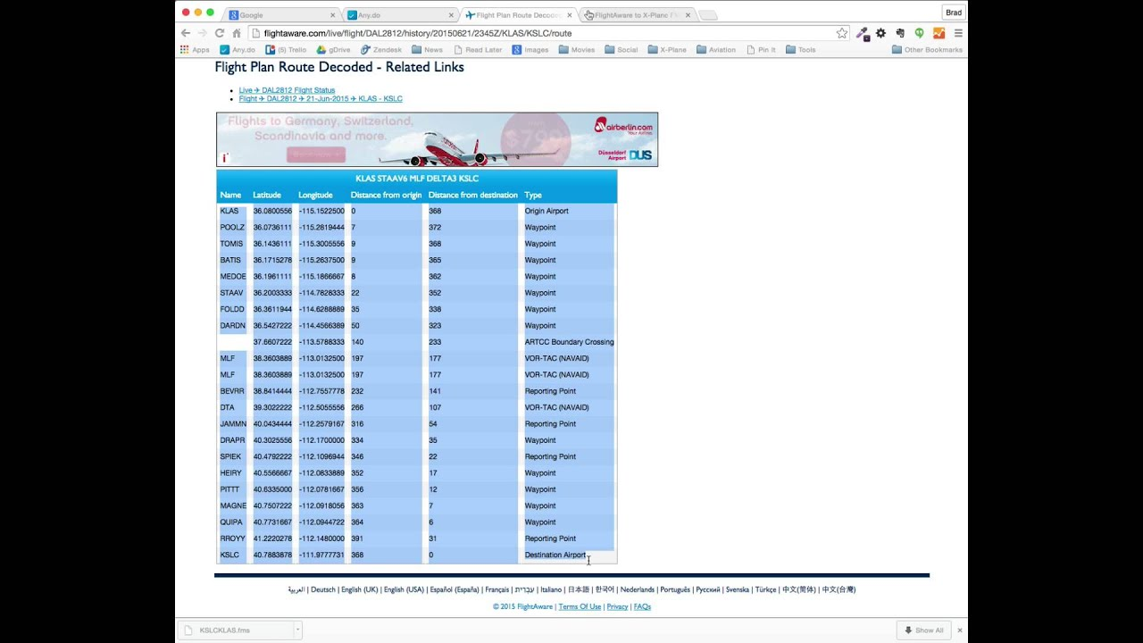 Flightaware Parser for X-Plane