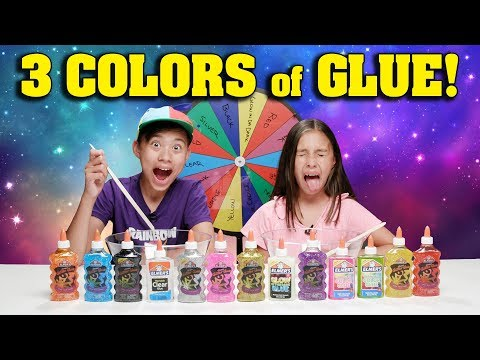 3 COLORS OF GLUE SLIME CHALLENGE w/ MYSTERY WHEEL OF SLIME!!!