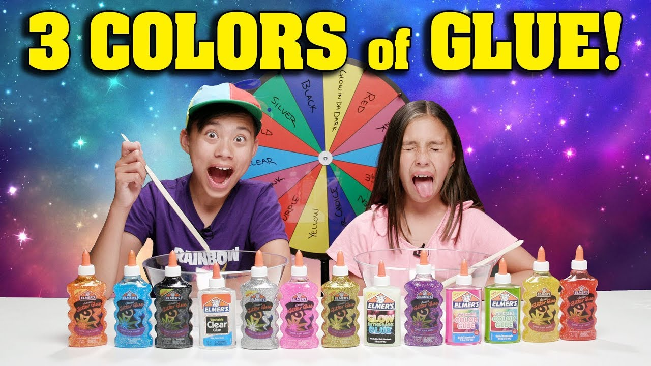 3 COLORS OF GLUE SLIME CHALLENGE w MYSTERY WHEEL OF SLIME!!!