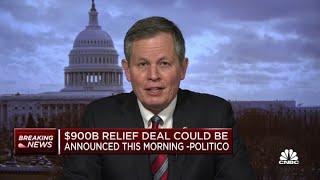 "Sen. steve daines (r-mo.) told cnbc's ""squawk box"" that he is optimistic congress will pass a $900 billion coronavirus relief bills before lawmakers break fo..."