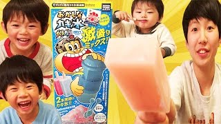 仲良し兄弟 ブラザー4 喧嘩しながらガリガリ君かき氷を作る Japan's popular ice.