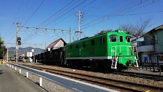【秩父鉄道】デキ505号(緑色)牽引貨物列車 長瀞駅付近にて
