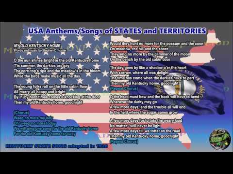 Kentucky State Song MY OLD KENTUCKY HOME with music, vocal and lyrics