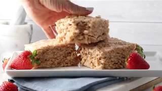 Vegan Strawberry Rhubarb Rice Krispies Marshmallow Treats
