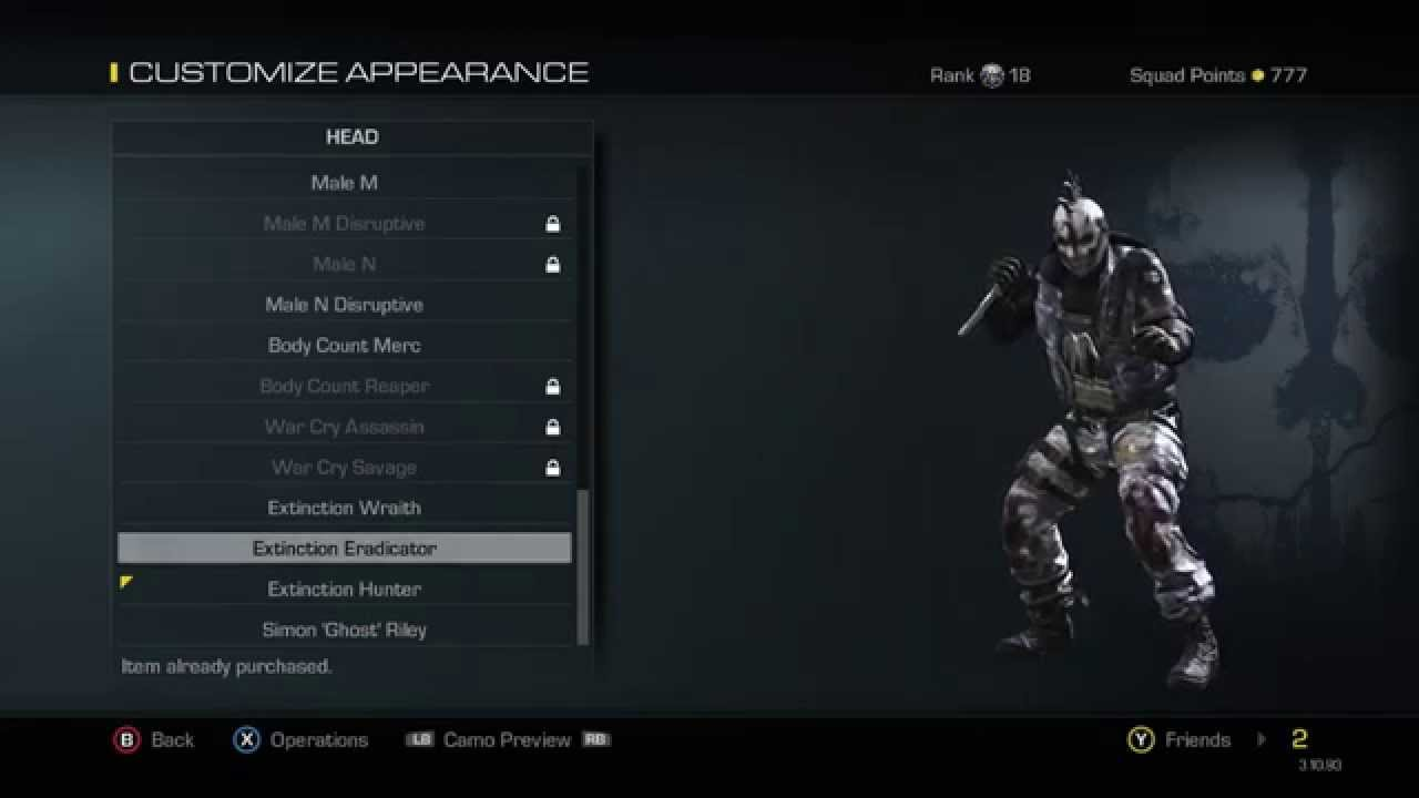 Customizable Extinction Characters Extinction Squad Pack Cod