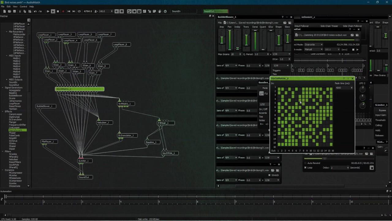 Bird Noises: AudioMulch sound processing demo