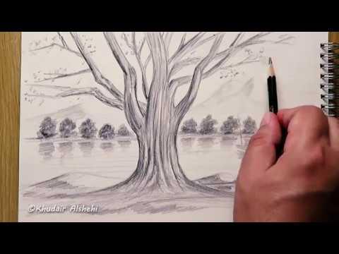 كيفية رسم شجرة ومنظر طبيعي بالقلم الرصاص من خيالي Youtube