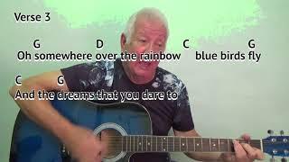 Baixar Somewhere Over The Rainbow (G) - Israel Kamakawiwo'ole - guitar lesson - on-screen chords and lyrics