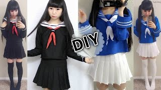 DIY Japanese Anime School Uniform: DIY Easy Long Sleeve Seifuku + DIY Seifuku Scarf