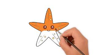 Learn How to draw a starfish - How to draw funny cartoons